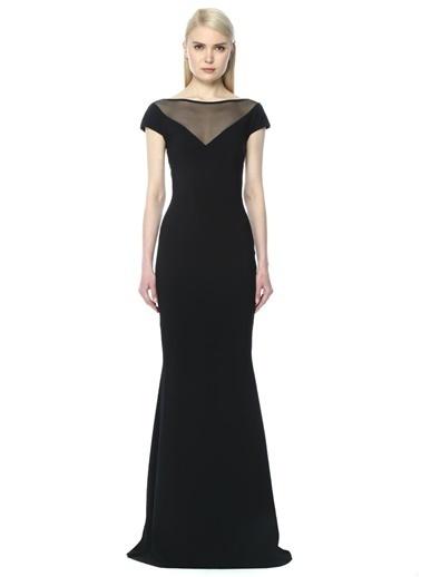 Yakası Tül Detaylı Uzun Elbise-Chiara Boni